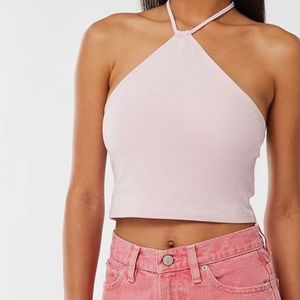 pink urban outfitters top with halter neck
